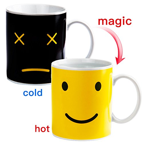 Color Changing Thermometer Heat Changing Mug Magic Sensitive Porcelain Coffee Cup - 10 OZ (Smile)