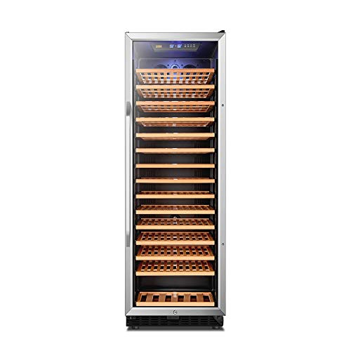Wine Cooler Compressor Refrigerator, 171 Bottles Red and White Single Zone Wine Cellar, Quiet Built-in or Freestanding Refrige, Double Panel Tempered Glass Door