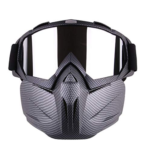 Mexidi Detachable UV Protective Motorcycle Goggles Mask Anti-Fog Protective Ski Goggles, Adjustable Windproof Outdoor Paintball Airsoft Mask Face Shield for Kids Youth Men Women -
