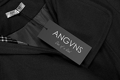 nera Giacca lunga Cintura giacca invernale donna Giacca pile da in Angvns con cappuccio ZSwWqaR7