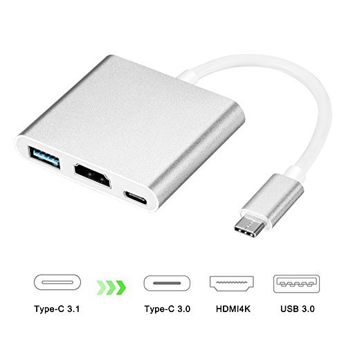 USB C to HDMI Adapter 4K, Acode 3 in 1 Type-C to HDMI Multiport Adapter Converter with USB 3.0 Port & USB C Recharging Port Compatible with Chromebook Pixel/Dell XPS13/Yoga 900 /HDTV