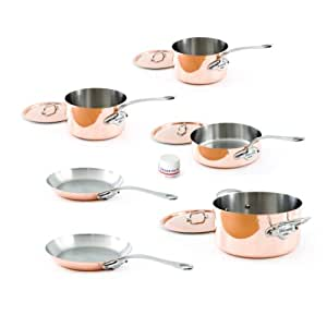 Mauviel Made In France M'Heritage Copper 150s 6100.04 10-Piece Set with Cast Stainless Steel Handle