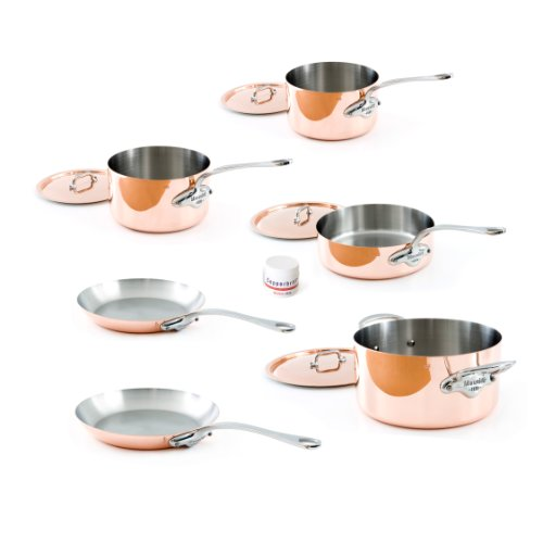 (Mauviel Made In France M'Heritage Copper 150s 6100.04 10-Piece Set with Cast Stainless Steel Handle)