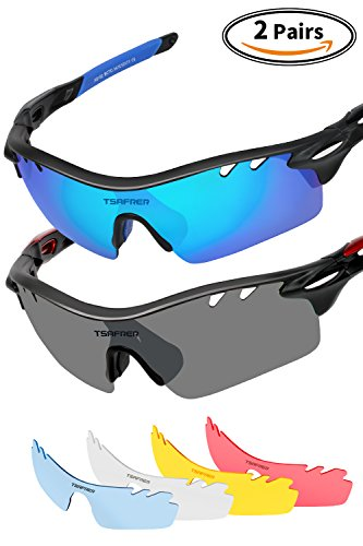 Sports Sunglasses 2 Pairs Polarized Sports Sunglasses with 4 Interchangeable Lenses, Tr90 Unbreakable Sunglasses for Mens Women Cycling Driving Running Golf Sunglasses By Tsafrer - Best Value Sunglasses Mens