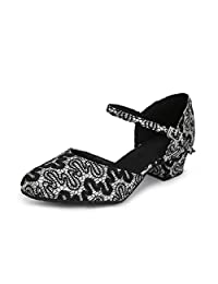 Minitoo Women's TH160 Round Toe Single Strap Satin Wedding Ballroom Latin Taogo Dance Pumps Shoes