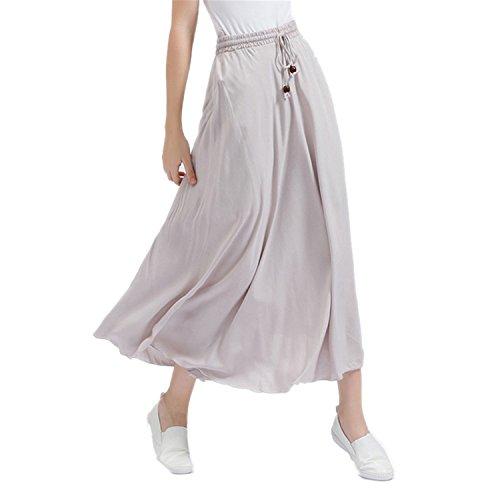 Silhouette Cotton Blouse - JIANGTAOLANG Women Bohemian Linen Cotton Long Skirt Elastic High Waist Maxi Pleated Beach Skirt Grey One Size
