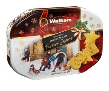 Walkers' Shortbread Assorted Festive Shapes Tin 12.3 oz(Pack of 2)