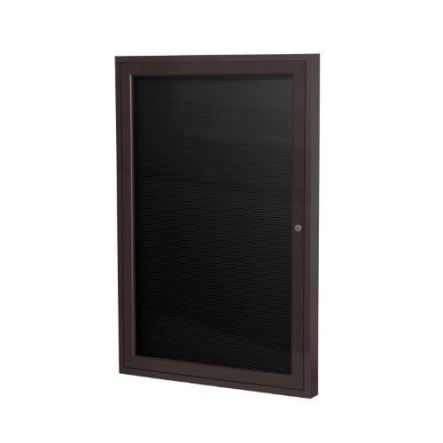 Image of Changeable Letter Boards Ghent 2' x 1 1/2' 1 Door Outdoor Enclosed Vinyl Letter Board, Black Letter Panel, Bronze Aluminum Frame (PB121 1/2BX-BK)