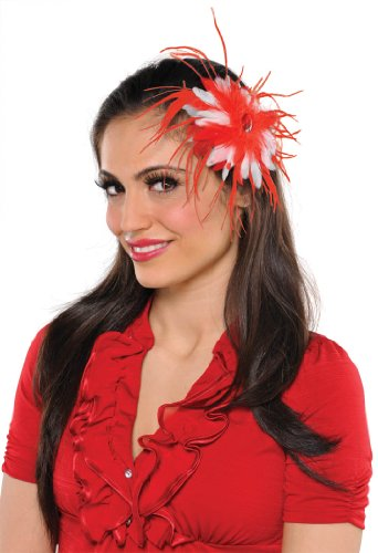 [Amscan Fun-Filled Christmas and Holiday Party Peppermint Feather Hair Clip, Red/White, 5