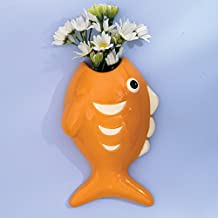 Bits and Pieces - Ceramic Orange Fish Hanging Wall Vase - Unique Flower Vase and Home Décor - Wall Art that Doubles as Plant Container or Flower Pot