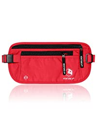 Travel Money Belt for Men and Women - Concealed Travel Wallet & Passport Holder with RFID Blocking (Red)