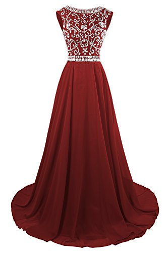 - MsJune Long Prom Dresses Cap Sleeves Bridesmaid Wedding Guest Gowns Beaded Dress Burgundy 4