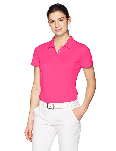 Ladies Golf Apparel Accessories - adidas Golf Women's Performance Shorts Sleeve Polo, X-Large, Solar Pink