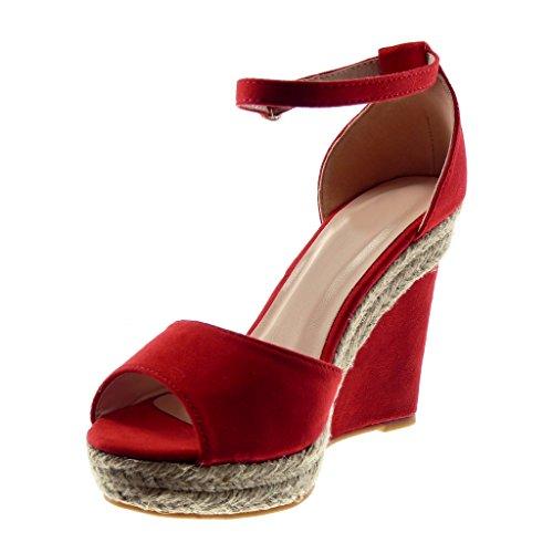 Plateforme Corde Talon Lanière Cheville 11 Sandale Chaussure Angkorly Mule Mode toe Cm Rouge Femme Peep Compensé wqx8HqP0vY