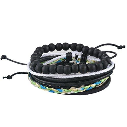 Souarts Mixte Bijoux Bracelet PU Cuir Perles Tressé Multi Rangs Punk Réglable Noir Blanc 1Set
