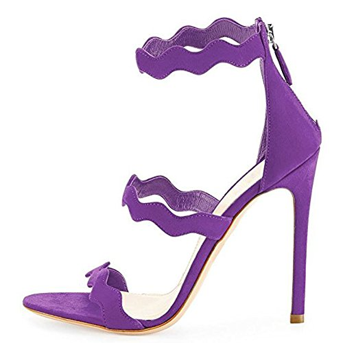 Strappy Pumps Party Shoes Ladies High Sandals Suede Heels Strap Fashion Ankle Wedding for Purple x8xPT60w