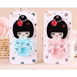New Cute Delicate 3D Kimoni Girl Case With Mirror For iPhone 4 4S --- Color:Blue