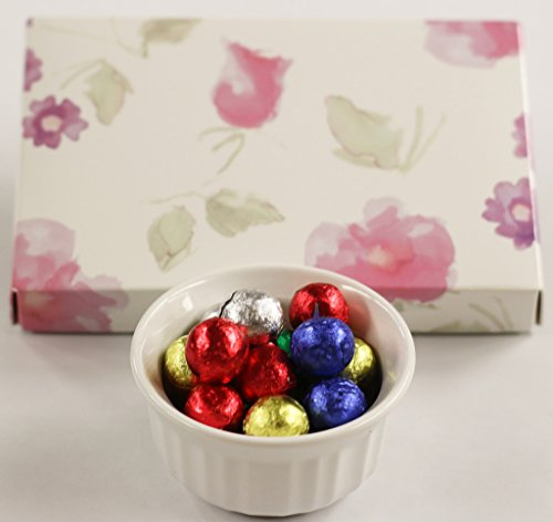 Scott's Cakes Foil Wrapped Solid Milk Chocolate Crisp Christmas Ornaments in a 1 Pound Pastel Flower Box