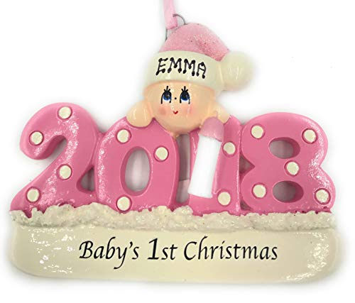 Personalized Baby's First Christmas Ornament 2018 - Pink/Girl - Free Personalization