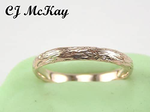 Rose Gold Tree Bark Wedding Band 2.5mm CR85R