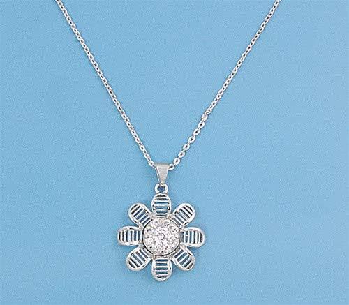 Glitzs Jewels 925 Sterling Silver Cubic Zirconia Necklace for Women Sun Flower Clear |