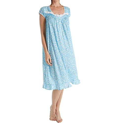 Eileen West Women's Modal Jersey Short Nightgown, Light Seaglass Ground with Multi Floral, S