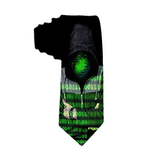 SARA NELL Men's Classic Woven Business Tie Silk Necktie Programmer Binary Code Hooded Man Neck Ties