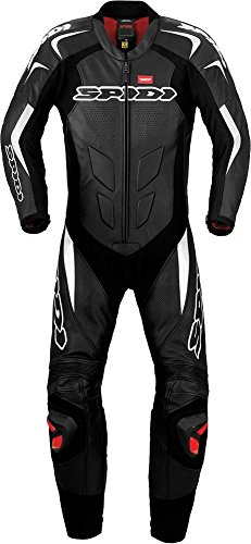 Spidi ''Supersport Wind Pro'' 1-Piece Motorcycle Leather Suit (Black/White) Size 48 US / 58 EU by Spidi Leathers Italy (Image #2)
