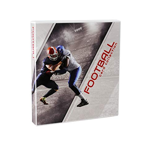 UniKeep Football Themed Trading Card Collection Binder with 10 Platinum Series Trading Card Pages. Fully Enclosed Case with a Locking Latch to Keep Cards Secure