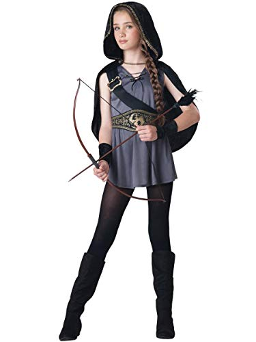 Fun World InCharacter Costumes Tween Kids Hooded Huntress Costume, Grey/Silver M -