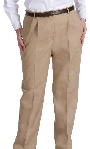 Pleated Pant Womens (Ed Garments Women's Pleated Zipper Pant, KHAKI, 2 32)