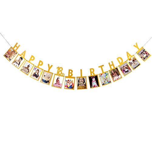 18th Birthday Photo - Gold Glitter Happy 18th Birthday Photo Banner - 18th Birthday Party Decorations - 18th Birthday Banner