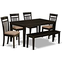 East West Furniture CAP6S-CAP-C 6 PC Dining Table Set-Solid Top Kitchen Table & 4 Kitchen Chairs Plus One Bench