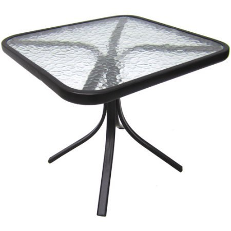 Mainstays Square Outdoor Glass Top Side Table (Walmart Table Top Glass)