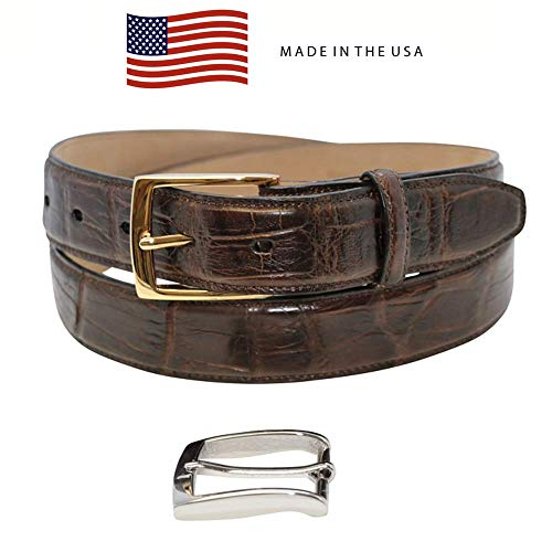Size 36 Brown Genuine Millennium Alligator Belt - Gold & Silver Buckles - Factory Direct Price - 1 ¼ inch (32mm) Wide - Made in USA by Real Leather Creations FBA1191