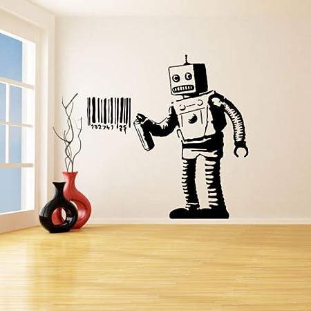 lyclff Banksy Vinilo Tatuajes de Pared Robot Graffiti Pegatinas de ...