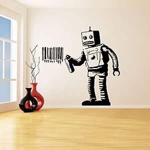 Banksy Vinilo Tatuajes de Pared Robot Graffiti Pegatinas de Pared ...