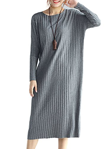 MissLook Women's Round Neck Ribbed Long Sleeve Loose Shift Midi Sweater Dress - Gray One-Size