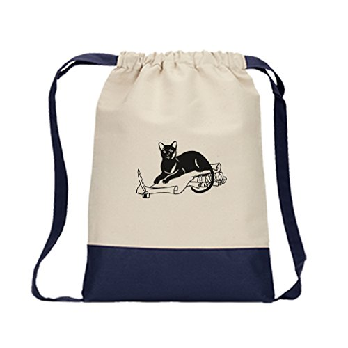 Canvas Backpack Color Drawstring Havans Brown Cat Black White #1 | - Havan Colour