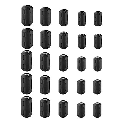 (25 Pieces Clip-on Ferrite Ring Cores - DGQ RFI EMI Noise Suppressor Cable Clip for 3.5mm/ 5mm/ 7mm/ 9mm/ 13mm Diameter Led Light Radio Static)