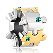 Charmed Craft Jan-Dec Birthday Autism Awareness Charm Puzzle Piece Jigsaw Beads For Bracelet