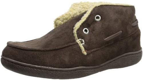 Dockers Men's Slipper Boot with Warm, Synthetic Sherpa Lining,  Brown,  11-12 XL