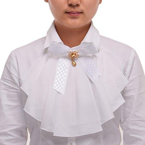 BLESSUME Victorian Chiffon Jabot Neck 1pc White]()