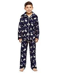 Boys 2 Piece Pajama Set   Long-Sleeve Button-Down Top & PJ Pants