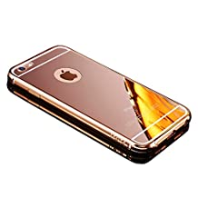 Apple iPhone 5 5S SE Bling Mirror Case,Vandot Premium Fashion Ultra Slim Thin Metal Aluminum Bumper Frame Hard Back Cover Pattern [Scratch-resistant] [Shockproof] Protection-Rose Gold