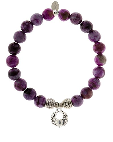 EvaDane Natural Sugilite Gemstone Rope Bead Winged Heart Charm Stretch Bracelet - Size 8 Inch (1_Sug_S_R_WH_8) ()