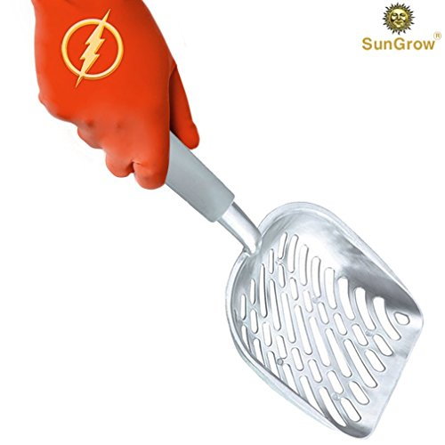Non-stick Cat Litter Scoop - 2-Minutes to clean poop box - Anti-Scatter sides for Easy sifting - Lightweight handle - Strong and Durable Aluminum Alloy - can last generations as family heirloom