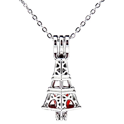 (Phonphisai shop K527 Cool Silver Alloy 28mm Building Tower Beads Cage Stainless Necklace 18