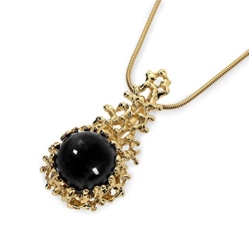 18k Yellow Gold Plated Sterling Silver, Large 12mm Natural Black Onyx Gemstone, Coral Reef Organic Statement Pendant Necklace (Reef Necklace Coral)