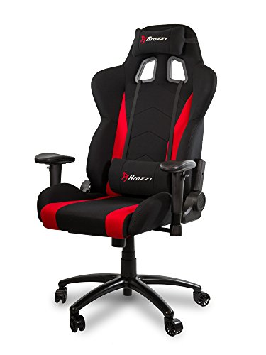 Arozzi Inizio Ergonomic Fabric Gaming Chair with High Back, Rocking & Recline Function - Red